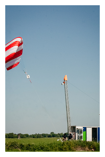 First test unit of a SkySails Airborne Wind Energy System.