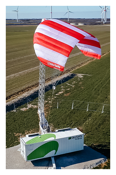 A SkySails airborne wind energy system that is about to launch its power kite.