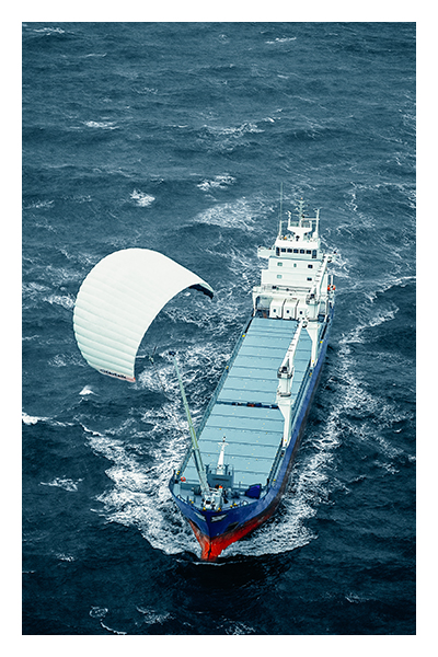 First kite powered commercial vessel propulsion system.