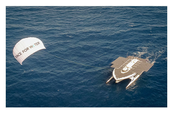 SkySails Propulsion kite installed on Race for Water Yacht